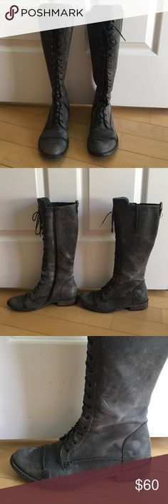 """Grey leather Charles David boots size 5 1/2 Grey distressed leather Charles David boots come just under the knee. Zip up so you don't have to re-lace every time. They are worn so they show signs of wear, but also they came that way. That is the """"look"""". Size 5 1/2 but I am a size 6 and they fit fine. Flat with a 1"""" heel. Non-slip sole Charles David Shoes Combat & Moto Boots"""