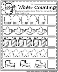 Winter Preschool Worksheets - Count and Color Winter things. Preschool Prep, Numbers Preschool, Preschool Printables, Preschool Classroom, Preschool Learning, Kindergarten Worksheets, Pre K Worksheets, Addition Worksheets, Preschool Curriculum