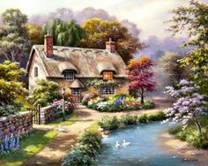 Global Gallery 'Duck Path Cottage' by Sung Kim Painting Print on Wrapped Canvas Size: