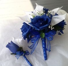 Royal Blue Wedding: White Tiger Lilly and Blue Rose Bouquet with Boutonniere: Bridesmaid/ Maid Of Honor/Groomsmen/Best Man Flowers