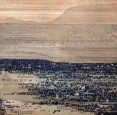 "Etching Art Print . Minimalist Home Decor: Striation 138 (in Navy Blue) 9.5"" x 9.5"" Print Size by ElviaPerrin"