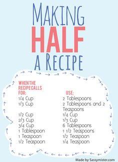 Convertir a la mitad de la receta