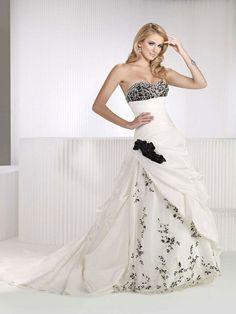 Sweetheart dropped waist A-line taffeta wedding dress