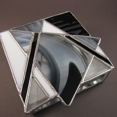 Black and White Hand Crafted Stained Glass Box with Abstract