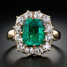 3.35 Carat Victorian Emerald and Diamond Ring.   $22,750.00