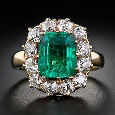 3.35 Carat Victorian Emerald and Diamond Ring.   $22,750.00