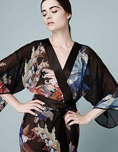 df95e896cd Meng AW14 loungewear - Red Flower print - silk georgette kimono - black Silk  Kimono Robe