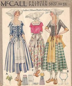 Rare McCall Dutch Costume Pattern : Vintage Sewing Patterns, Heavens To Betsy Vintage Outfits, Vintage Costumes, Vintage Dresses, Vintage Fashion, Folk Fashion, Ethnic Fashion, Eve Costume, 1920s Costume, Vintage Dress Patterns