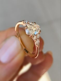 delicately beautiful custommade rose gold engagement ring set with a oval diamond Diamond Jewelry, Gold Jewelry, Oval Diamond, Rose Gold Engagement Ring, Wholesale Jewelry, Jewelry Gifts, Wedding Rings, Pendants, Beautiful