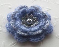Crochet flower brooch in dusty lavender and silver