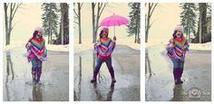 Rainy Day Collage - portrait collage of little girl playing in puddles & rain, Houghton Lake, Northern Michigan