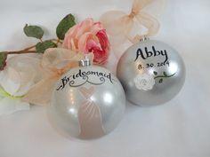 Wedding Ornaments  Bridesmaid Ornaments  by samdesigns22 on Etsy