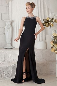 Classic Black Chiffon Graduation Dress - Order Link: http://www.theweddingdresses.com/classic-black-chiffon-graduation-dress-twdn1854.html - Embellishments: Beading , Ruched; Length: Sweep/Brush Train; Fabric: Chiffon; Waist: Natural - Price: 143.14USD