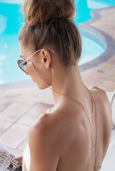 Eyewear jewelry that dresses up your sunglasses and protects them. The Barre Backlace decorates your back and makes a statement while strapping on your eyewear. Women Accessories, Jewelry Accessories, Or Rose, Rose Gold, Eyeglasses, Eyewear, Earrings, Things To Sell, Festival 2017
