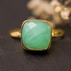 Chrysoprase Ring  Gemstone Ring  Gold Ring  Bezel Ring by delezhen, $66.00
