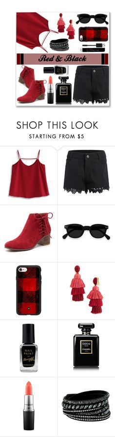 """Red & Black"" by kreseviclaura ❤ liked on Polyvore featuring Chicwish, Django & Juliette, Casetify, Oscar de la Renta, Barry M, Chanel, MAC Cosmetics, Swarovski and Christian Dior"