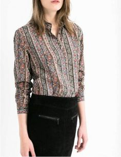 AUTUMN NEW FASHION WOMEN'S TURN DOWN COLLAR INLAY PAISLEY RETRO ETHNIC STYLE PRINTING STRIPED LONG-SLEEVED SHIRT ST295