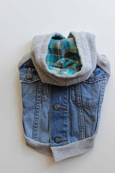 Upcycled Denim Dog Jacket with Sweatshirt Sleeve di PupCycleCanada