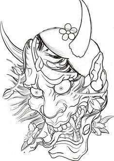 Samurai Mask Tattoo, Hannya Mask Tattoo, Japanese Demon Tattoo, Japanese Sleeve Tattoos, Mask Drawing, Japanese Tattoo Designs, Asian Tattoos, Japan Tattoo, Oriental Tattoo