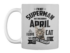Born In April Cat Lover Men's T Shirt Lt Grey Mug Front.  **Printed in the USA