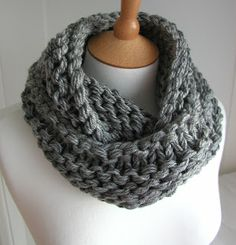 Hand Knitted Things: Steel Grey Chunky Circular Scarf Free Knitting Pattern. Knit in the round using 5 strands of DK yarn together