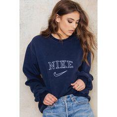 Nike Vintage Sweatshirt ($66) ❤ liked on Polyvore featuring tops, hoodies, sweatshirts, hooded sweatshirt, collared sweatshirt, nike sweatshirts, hooded pullover and blue top