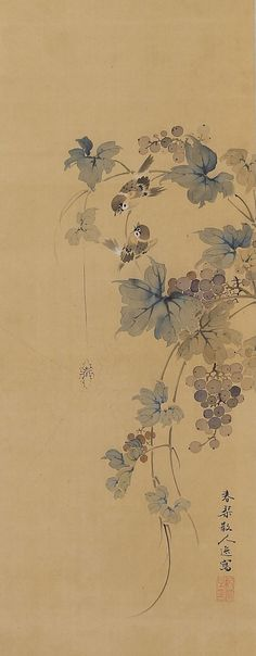 Sparrows in Grapes by Urakami Shunkin (1779-1846). Japanese Hanging Scroll painting Kakejiku.