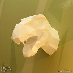 Dinosaur Head 3D papercraft model. Downloadable от NokaPaperArt