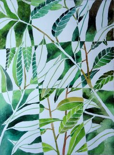 Negative and positive painting, watercolor leaves.