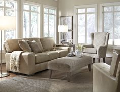 Our leather Millport Collection is gorgeous in this monochromatic room setting.