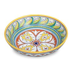 """12""""D x 3.5""""H  Serve a savory Italian pasta or fresh salad in this elegant Italian serving bowl. Completely handmade and hand painted in the town of Deruta, in the Italian region of Umbria, this Italian dinnerware piece is one you will be proud to keep in the family for generations. The Italian ceramic fish platter, D21G3, coordinates perfectly with this piece."""