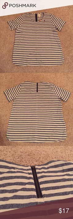 G.H. Bass & Co. Navy Striped Top Never Worn • Runs Small • Navy and Cream Striped • Zipper in Back • Pocket on Front G.H. Bass & Co. Tops Blouses