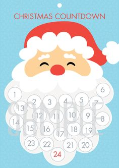 Luxurious And Splendid Christmas Countdown Calendar Printable To Santa Beard Play Go Santa Countdown, Christmas Countdown Calendar, Advent Calendar, Christmas Activities For Kids, Preschool Christmas, Christmas Printables, Kids Christmas, Christmas Projects, Holiday Crafts