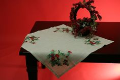 Machine Embroidered Holiday Holly Square Table Topper