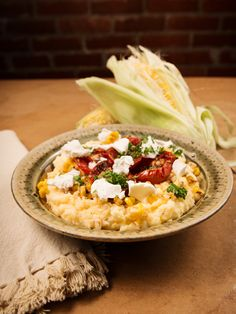 ... Say Tomato - Grits with Corn, Goat Cheese, & Garlic Roasted Tomatoes