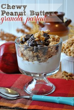 Chewy Peanut Butter Granola Parfait | This is seriously the best way ever invented to eat peanut butter granola. It's kind of like breakfast crack... #peanutbutter #granola #recipe