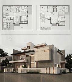 Modern Villa Design, Unique House Design, Civil Engineering Design, Modern House Floor Plans, Architectural Floor Plans, Model House Plan, Home Building Design, Facade House, Architect Design