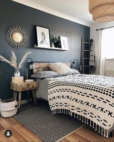 Room Ideas Bedroom, Home Decor Bedroom, Wooden Furniture Bedroom, Wooden Wall Bedroom, Industrial Bedroom Decor, Bedroom Decorating Ideas, Rustic Master Bedroom Design, Black Bedroom Design, Black Bedroom Decor