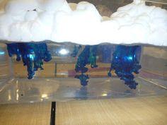 wolken en regen maken met scheerschuim