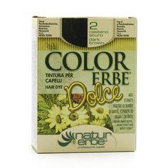 Color Erbe Barva na vlasy Tmavě hnědá 02, Dolce 135 ml - bez henny - krémové barvy - barvení - vlasy - kosmetika - BIOOO