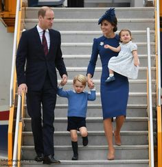 William Duke of Cambridge, Prince George, Catherine Duchess of Cambridge holding Princess Charlotte arrive in Canada. September 24 2016