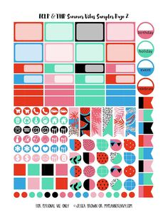 Summer Vibes Sampler Page 2 for the Vertical Erin Condren and Happy Planner on myplannerenvy.com
