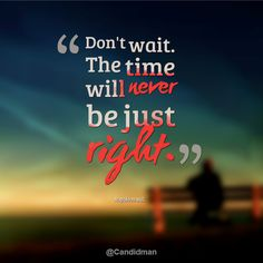 """""""Don't wait. The time will never be just right"""". #Quotes by #NapoleonHill via @candidman"""