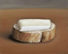 Schilderij Stokbroodje brie, olieverf op paneel, 12 x 15 cm, Serge de Vries