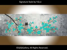 """Original Oil painting abstract landscape Palette knife Textured Impasto Birds Wall Art """"A Garden Full of Beauty of Spring"""" by QIQIGALLERY"""