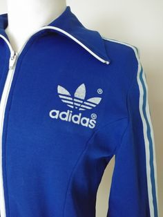 22ed659774 Vintage Adidas Blue Three Stripe, Trefoil Track Jacket, Retro 70's, 80's  Nylon Funnel