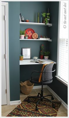 Niche converted to a mini-working desk. DIY shelves (under $60)! Small space ideas