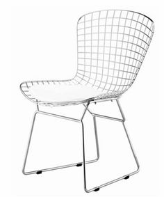 "Designer Modern Bertoia Style Wire Side Chair in White by Designer Modern. $99.00. The Bertoia Wire Chairs are surprisingly strong and comfortable, while maintaining a magnificent appearance.  Bertoia once said of his famed wire chairs, """"If you look at these chairs, they are mainly made of air, like sculpture. Space passes right through them."" The wire chair truly is a masterpiece. Also look out for matching Wire Diamond Chair."