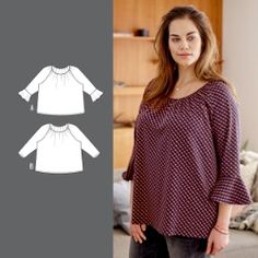 Blouse with gathering and flounce sleeves - Stoff & Stil Sewing Blouses, Raglan, Playing Dress Up, Curvy, Ruffle Blouse, Tunic Tops, Sleeves, Pattern, How To Wear