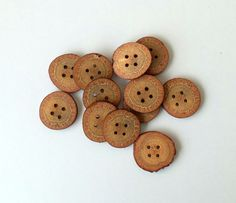 New  Wood Buttons-12  Handmade BlackJack tree by forestinspiration